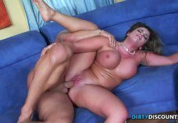 Busty pornstar slammed by enormous cock